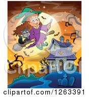 Clipart Of A Witch And Cat Flying Over A Haunted House With A Cemetery Bare Tree And Bats Against A Full Moon Royalty Free Vector Illustration