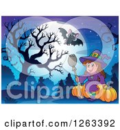 Clipart Of A Full Moon With A Witch Halloween Pumpkins And Bats Over A Cemetery Royalty Free Vector Illustration by visekart