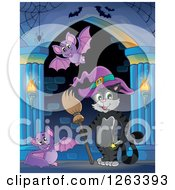 Clipart Of A Cat Witch With Vampires Bats In A Haunted Hallway Royalty Free Vector Illustration