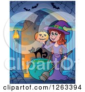 Clipart Of A Cat With A Witch Holding A Halloween Jackolantern Pumpkin In A Haunted Hallway Royalty Free Vector Illustration
