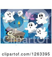Clipart Of A Skeleton In A Coffin Bat And Ghosts In A Haunted Hallway Royalty Free Vector Illustration