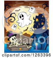 Clipart Of A Skeleton In A Coffin With Ghosts At A Cemetery Near A Haunted Mansion Royalty Free Vector Illustration