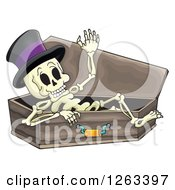 Clipart Of A Skeleton Wearing A Top Hat And Resting In A Coffin Royalty Free Vector Illustration