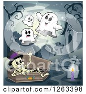 Clipart Of A Skeleton In A Coffin With Ghosts At A Cemetery Royalty Free Vector Illustration by visekart
