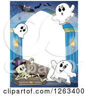 Clipart Of A Skeleton In A Coffin With Ghosts And Bats In A Haunted Hallway Royalty Free Vector Illustration by visekart