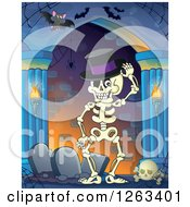 Clipart Of A Skeleton Wearing A Top Hat By Tombstones In A Haunted Hallway With Bats Royalty Free Vector Illustration