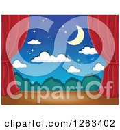 Clipart Of A Spotlight Shining Down On A Stage With A Night Backdrop And Red Curtains Royalty Free Vector Illustration by visekart
