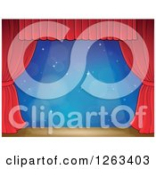 Clipart Of A Spotlight Shining Down On A Stage With A Blue Backdrop And Red Curtains Royalty Free Vector Illustration by visekart