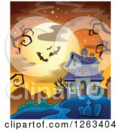 Clipart Of A Haunted House With A Cemetery And Bats Against A Full Moon Royalty Free Vector Illustration