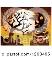 Clipart Of A Haunted House With A Cemetery Bare Tree And Bats Against A Full Moon Royalty Free Vector Illustration