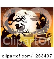 Clipart Of A Haunted House With A Cemetery Cats In A Bare Tree And Bats Against A Full Moon Royalty Free Vector Illustration