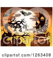 Clipart Of A Haunted House With A Cemetery Bats In A Bare Tree And A Full Moon Royalty Free Vector Illustration