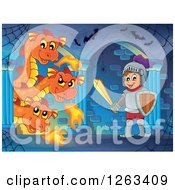 Clipart Of A Three Headed Fire Breating Dragon And Knight In A Hallway Royalty Free Vector Illustration