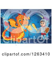Clipart Of A Fire Breating Dragon And Knight In A Hallway Royalty Free Vector Illustration