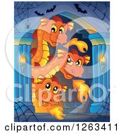 Clipart Of A Three Headed Fire Breating Dragon And Bats In A Hallway Royalty Free Vector Illustration