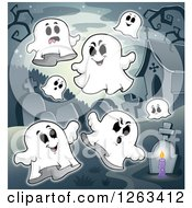 Clipart Of A Cemetery With Ghosts Royalty Free Vector Illustration