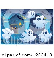 Clipart Of Spider Webs Bats And Ghosts In A Haunted Hallway Royalty Free Vector Illustration by visekart