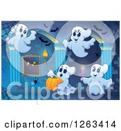 Clipart Of Spider Webs Bats And Festive Ghosts In A Haunted Hallway Royalty Free Vector Illustration