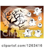 Clipart Of A Full Moon With Bats And Ghosts Over A Bare Tree And Cemetery Royalty Free Vector Illustration by visekart