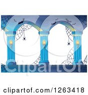 Clipart Of A Haunted Archway With Spider Webs And Bats Royalty Free Vector Illustration