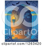 Clipart Of A Haunted Hall With Spider Webs And Bats Royalty Free Vector Illustration