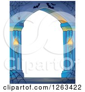 Clipart Of A Haunted Archway With Spider Webs And Bats Royalty Free Vector Illustration by visekart