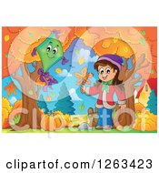 Clipart Of A Happy White Girl Holding An Autumn Leaf By A Kite Royalty Free Vector Illustration