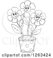 Clipart Of A Black And White Pot With Happy Flowers Royalty Free Vector Illustration