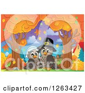 Clipart Of A Happy Thanksgiving Owl Couple Under Autumn Trees Royalty Free Vector Illustration by visekart