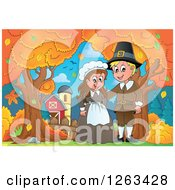 Clipart Of A Happy Thanksgiving Pilgrim Couple By An Autumn Farm Royalty Free Vector Illustration by visekart
