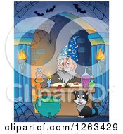 Clipart Of A Cat And Wizard Making A Spell In An Alcove Royalty Free Vector Illustration