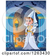 Clipart Of A Medieval Lady In A Hallway Royalty Free Vector Illustration by visekart