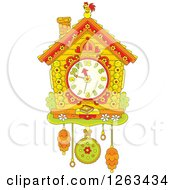 Clipart Of A Cuckoo Clock Royalty Free Vector Illustration by Alex Bannykh