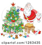 Clipart Of Santa Standing On A Stool And Decorating A Christmas Tree Royalty Free Vector Illustration