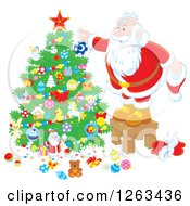 Clipart Of Santa Trimming A Christmas Tree Royalty Free Vector Illustration