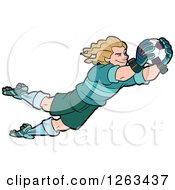 Clipart Of A Blond White Male Soccer Player Goal Keeper Leaping Royalty Free Vector Illustration by Frisko