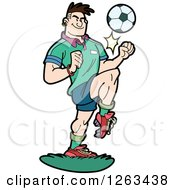 Clipart Of A White Male Soccer Player Kicking A Ball With His Knee Royalty Free Vector Illustration by Frisko