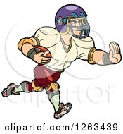 Clipart Of A Muscular White Male American Football Player Running Royalty Free Vector Illustration by Frisko