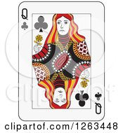 Clipart Of A Queen Of Clubs Playing Card Royalty Free Vector Illustration by Frisko