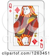 Clipart Of A Queen Of Diamonds Playing Card Royalty Free Vector Illustration