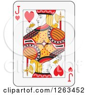 Clipart Of A Jack Of Hearts Playing Card Royalty Free Vector Illustration by Frisko