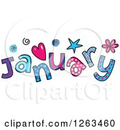 Clipart Of Colorful Sketched Month Of January Text Royalty Free Vector Illustration