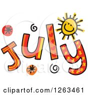 Clipart Of Colorful Sketched Month Of July Text Royalty Free Vector Illustration