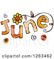 Clipart Of Colorful Sketched Month Of June Text Royalty Free Vector Illustration