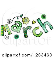 Clipart Of Colorful Sketched Month Of March Text Royalty Free Vector Illustration