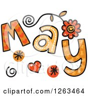 Clipart Of Colorful Sketched Month Of May Text Royalty Free Vector Illustration