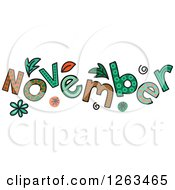 Clipart Of Colorful Sketched Month Of November Text Royalty Free Vector Illustration