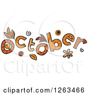 Clipart Of Colorful Sketched Month Of October Text Royalty Free Vector Illustration