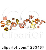 Clipart Of Colorful Sketched Month Of September Text Royalty Free Vector Illustration