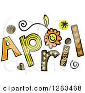 Clipart Of Colorful Sketched Month Of April Text Royalty Free Vector Illustration